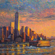 Freedom Tower and Ferry, Golden Sky