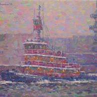 Tug Barge and Snowy Skies