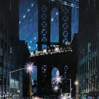 Manhattan Bridge View from Washington St., Night