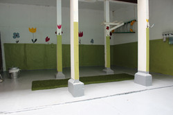 Patio with fake grass