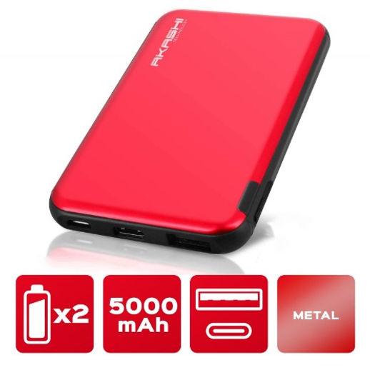 Power Bank 5000 mAh - Charge rapide - Aluminium Rouge