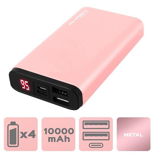 Power Bank 2 USB 10000 mAh - Charge rapide - Aluminium Rose