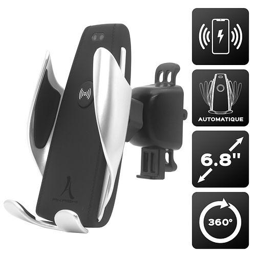 Support Telephone Voiture Induction Fixation Ventouse/Grille d'Aération et Chargeur Voiture sans Fil Rapide QI 10W