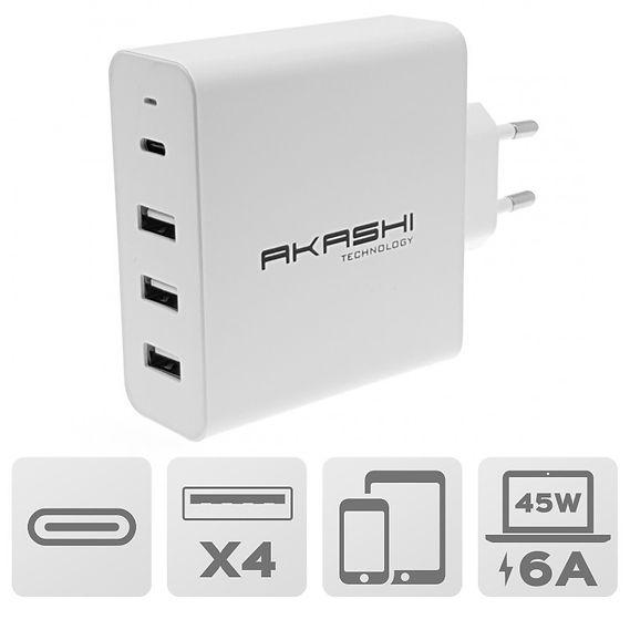 Secteur intelligent 6A USB-C 45W et 3 USB