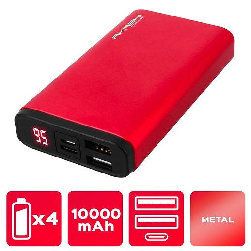 Power Bank 2 USB 10000 mAh - Charge rapide - Aluminium Rouge