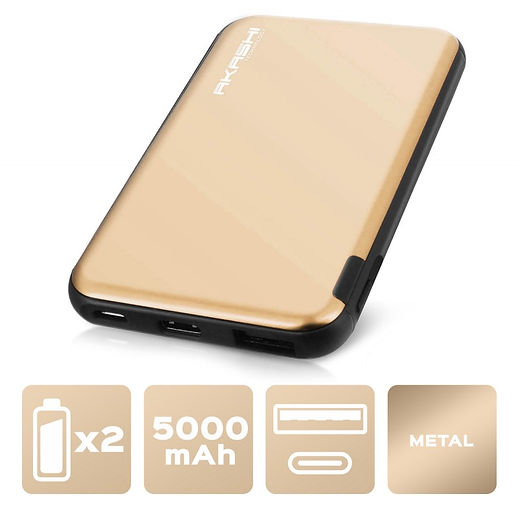 Power Bank 5000 mAh - Charge rapide - Aluminium Or
