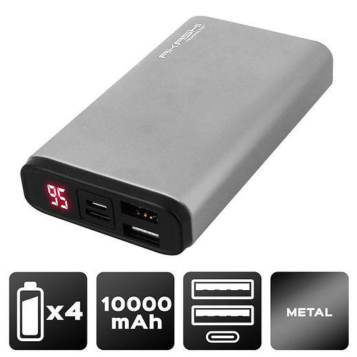 Power Bank 2 USB 10000 mAh - Charge rapide - Aluminium Gris métal