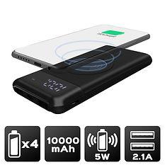 Power Bank 10 000 mAh - Charge sans fil Technologie Qi - Noir