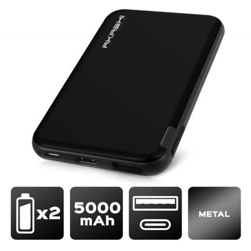 Power Bank 5000 mAh - Charge rapide - Aluminium Noir