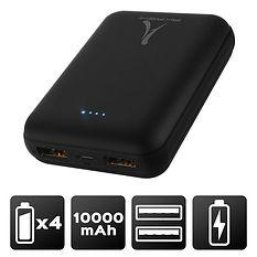 Power bank 10 000 mAh - 2 USB - LED - Noir