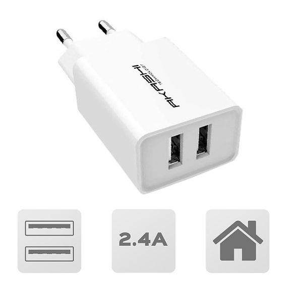 Secteur charge rapide 2,4A 2 USB Blanc
