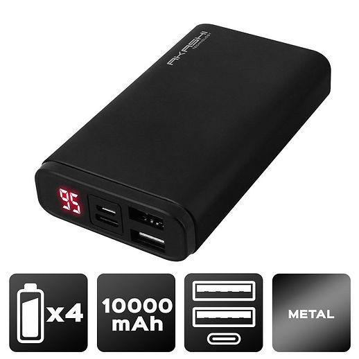 Power Bank 2 USB 10000 mAh - Charge rapide - Aluminium Noir