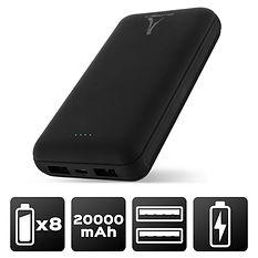 Power Bank 20 000 mAH - 2 USB - LED Noire