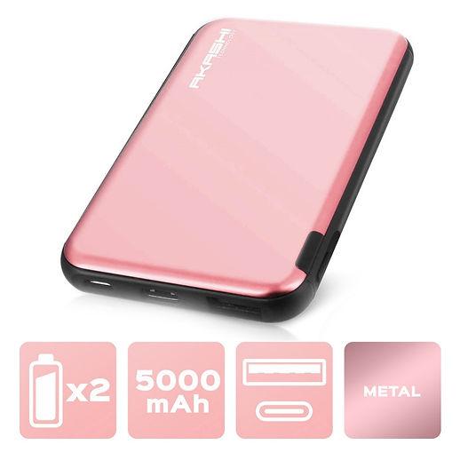 Power Bank 5000 mAh - Charge rapide - Aluminium Rose