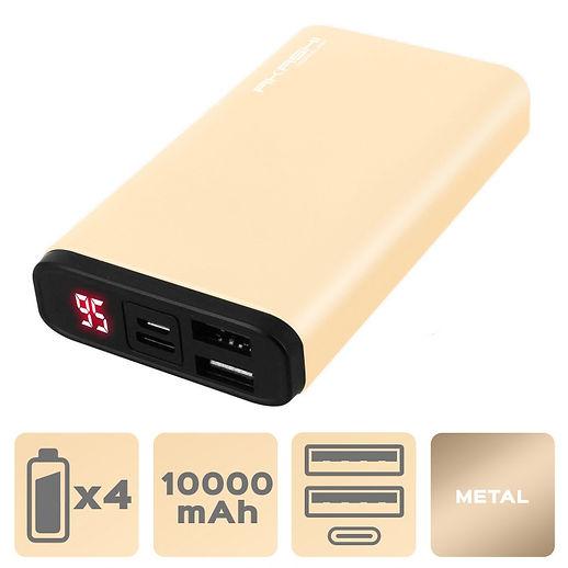 Power Bank 2 USB 10000 mAh - Charge rapide - Aluminium Or