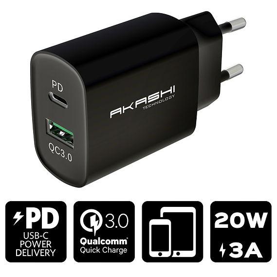 Secteur USB + USB-C 20W Noir