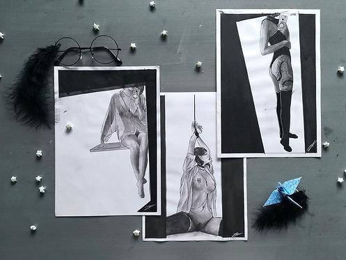 Ink paintings of women