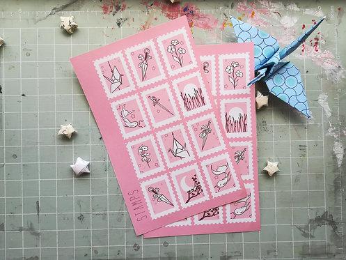 Pink Stamps Sticker Sheet