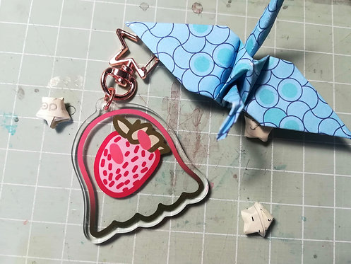Strawberry Ghost Friend Acrylic Charm