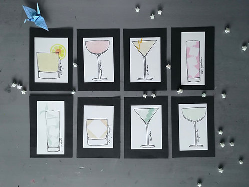 Cocktail Screen-print cards