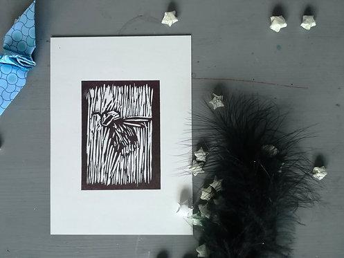 Small Bee Lino Print