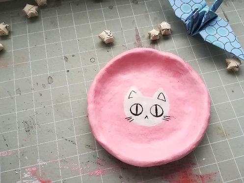 Pink Cat Clay Trinket Dish