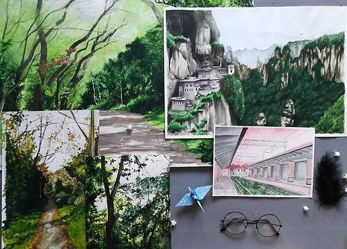 Watercolour Landscape Original Paintings