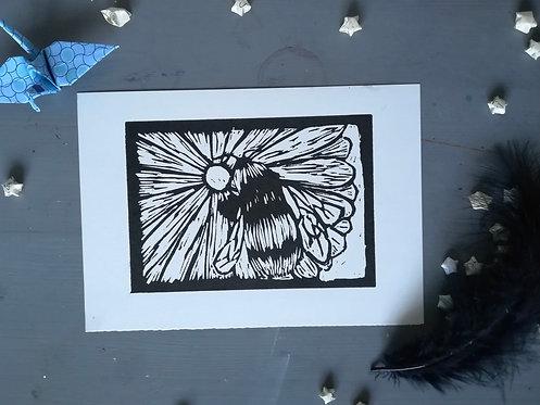 Bee on a Flower Lino Print