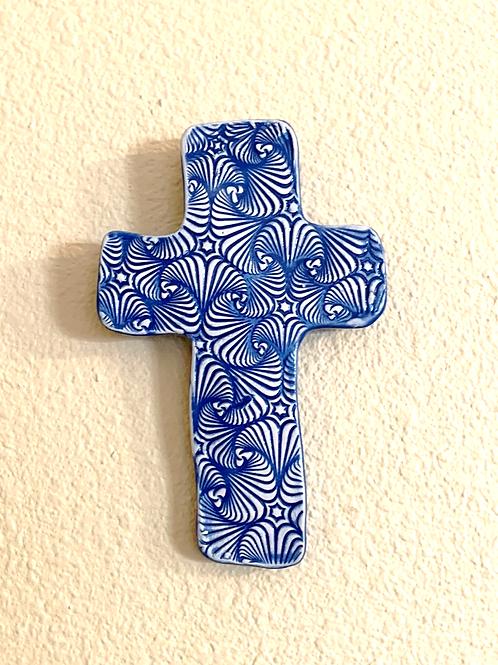 Blue and Bronze Sculpted Cross