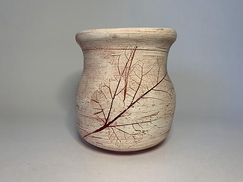 Red/Brown Leaf Imprint Vase