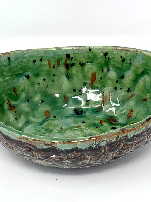 Deep Green and Chocolate Bowl