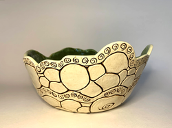 Green and Chocolate Brown Coil Bowl