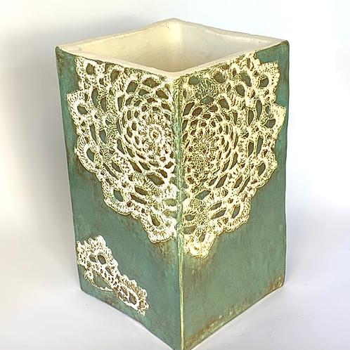 Sea Green Lace Vase