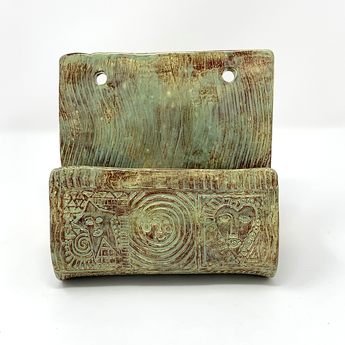 Mottled Green and Brown Wall Planter
