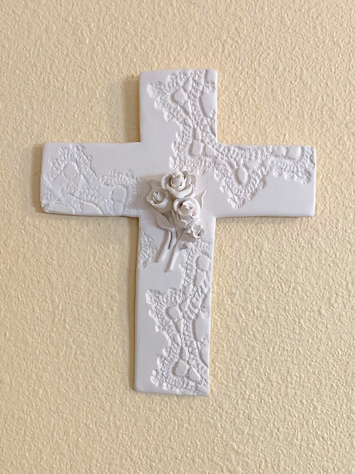 White Bisque Lace-Impressed Wall Cross