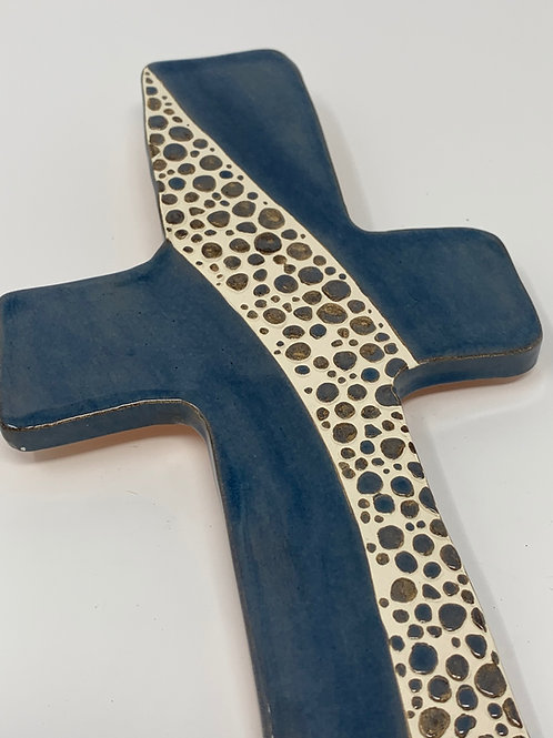 Blue + Bronze Cobblestone Wall Cross