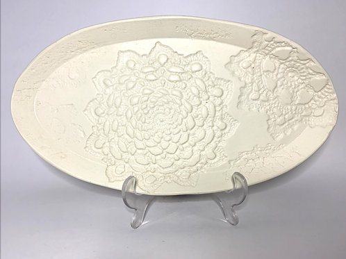 White Oval Lace Pattern Serving Platter