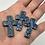 "Thumbnail: 10 Blue Ceramic ""Pocket Crosses"" in Organza Gift Bag"