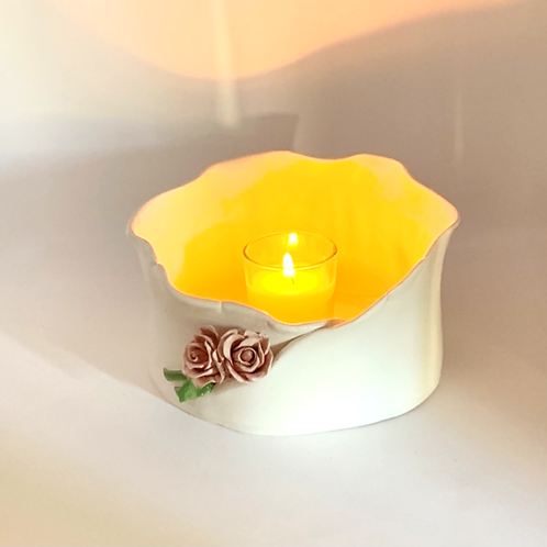 Natural Earthenware and Pink Rose Luminary and Planter