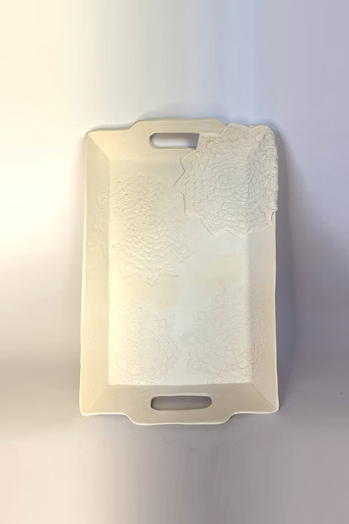 Large White Rectangle Lace Pattern Serving Platter