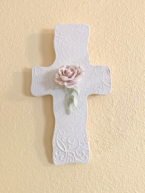 White Bisque Wall Cross with Pink Rose