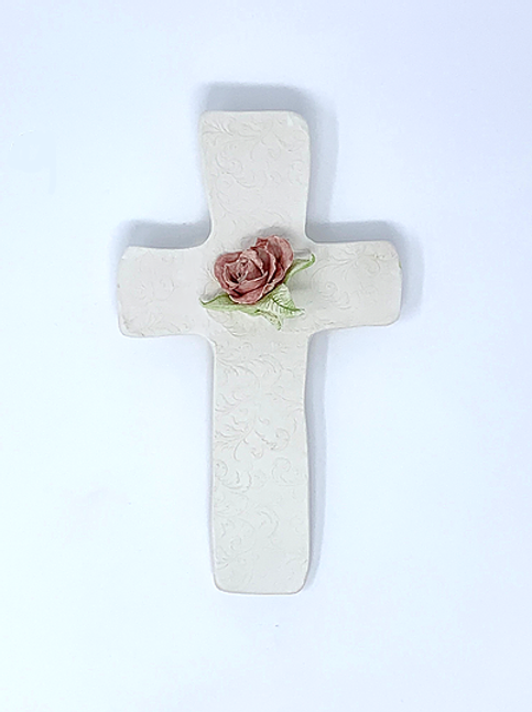 White Bisque Wall Cross with Dusty Red Rose