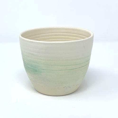 Smooth Natural Color and Green Bowl, Planter or Mug
