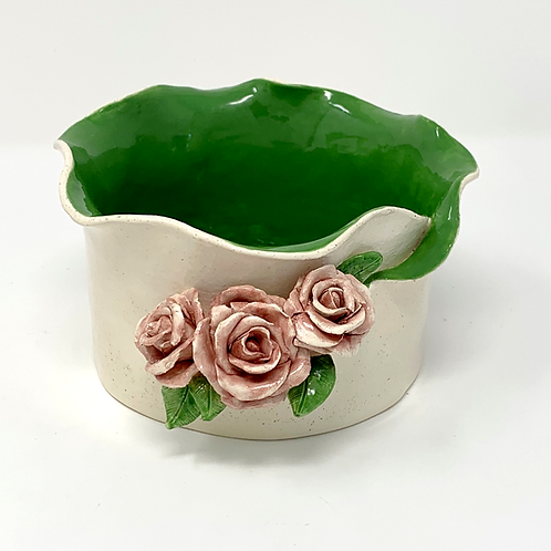 Garden Green Luminary and Planter with 3 Watercolor Roses