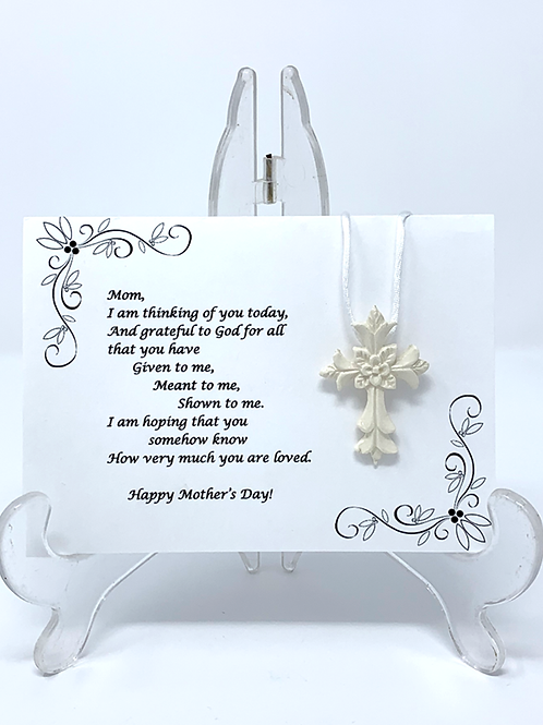 Mother's Day Ceramic Cross Pendant with Greeting Card - White