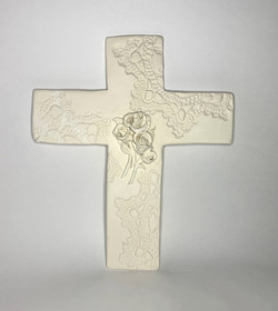 White Cross With Roses
