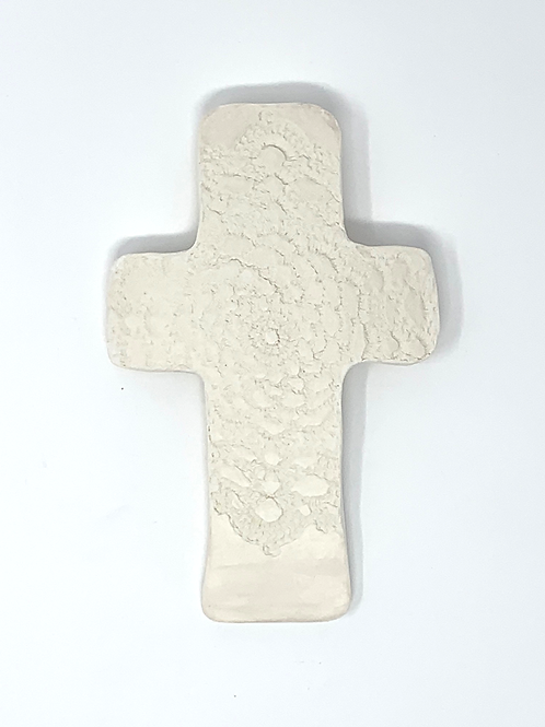 White Bisque Lace Wall Cross