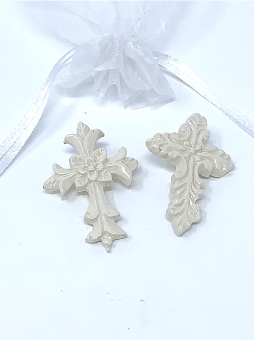 """10 Rose Ceramics """"Pocket Crosses"""" in Organza Gift Bag"""