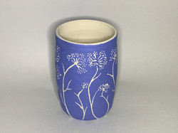 Blue Luminary With Sgraffito flowers for Katherine