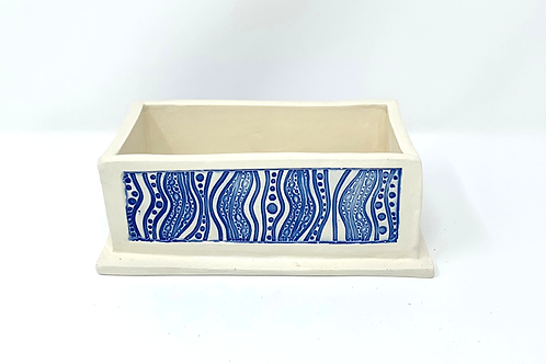 Blue and White Planter and Luminary